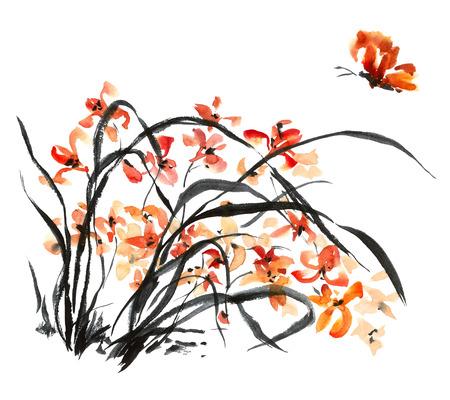 Waterverf en inkt illustratie van bloesem bloem. Gohua, sumi-e, u-sin schilderij. Stockfoto