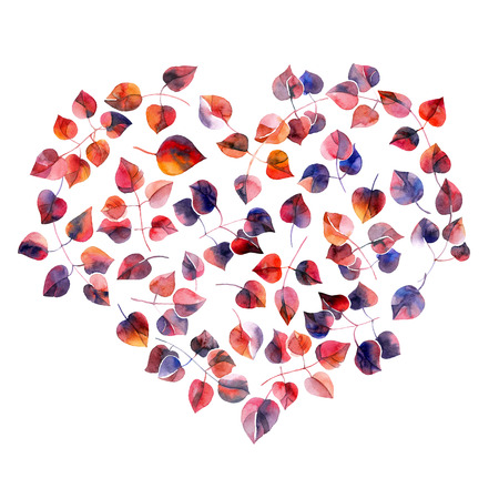 Watercolor illustration leaves in shape of heart. Decorative greeting card.
