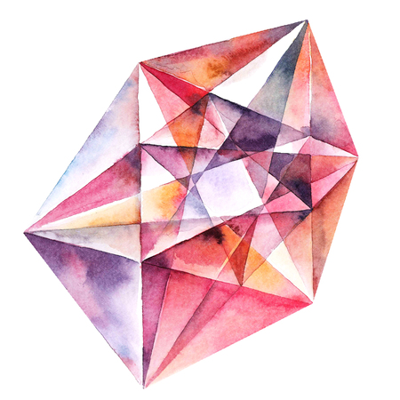 Watercolor illustration of beautiful red diamond crystal