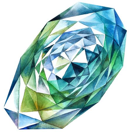 zircon: Watercolor illustration of diamond crystal. Big green emerald. Stock Photo