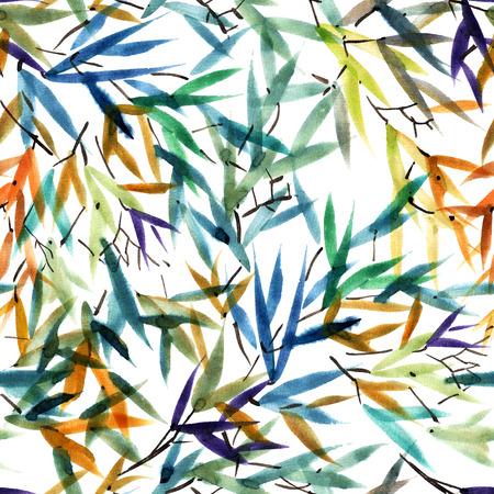 Aquarel en inkt bamboe laat patroon in stijl sumi-e, u-zonde. Oosterse traditionele schilderkunst. Naadloos patroon. Stockfoto