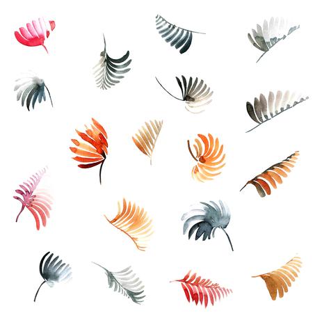 Watercolor painted leaves set. Decorative elements for design.
