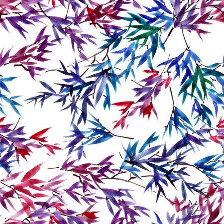 Waterverf en inkt bamboe bladeren patroon in stijl sumi-e, u-zonde. Oosterse traditionele schilderkunst. Naadloos patroon.