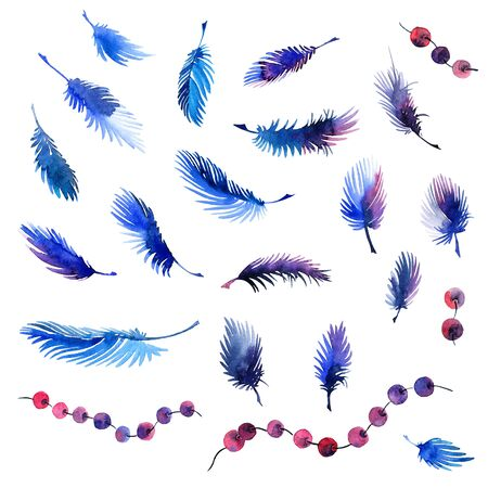 aquarell: Watercolor painted feathers and beads set. Decorative elements for design.