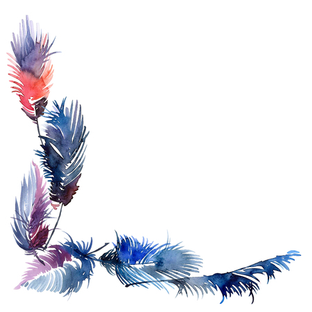 jewelry background: Watercolor painted beautiful feathers. Corner frame for cards, invitations.