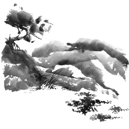 gohua: Watercolor and ink chinese landscape with trees. Sumi-e, u-sin, gohua painting.