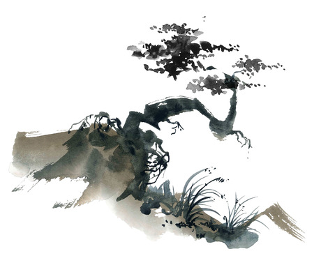Watercolor and ink chinese landscape with trees. Sumi-e, u-sin, gohua painting.