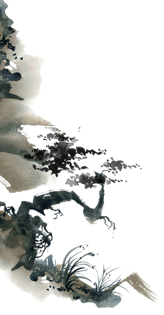 landscape: Watercolor and ink chinese landscape with trees. Sumi-e, u-sin, gohua painting.