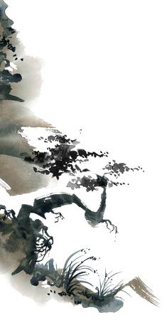 Waterverf en inkt Chinese landschap met bomen. Sumi-e, u-sin, gohua schilderen. Stockfoto