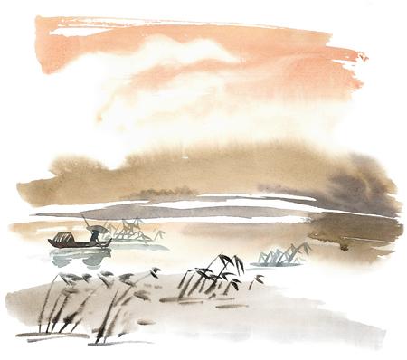Waterverf en inkt Chinese landschap met rivier, Fichman, bamboe. Sumi-e, u-sin, gohua schilderen.