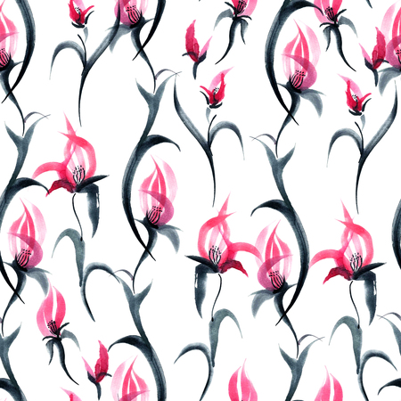 Watercolor and ink illustration of flowers. Sumi-e painting. Seamless pattern.