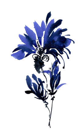 gohua: Blue flowers bouquet. Watercolor and ink painting in style gohua, sumi-e, u-sin. Oriental traditional painting.