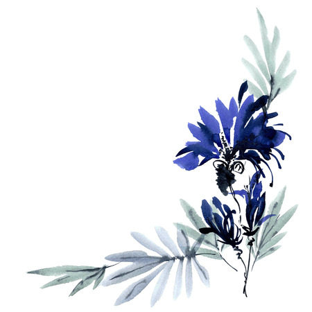 Blue flowers bouquet. Background with corner composition for cards, invitation. Watercolor and ink painting in style gohua, sumi-e, u-sin. Oriental traditional painting.