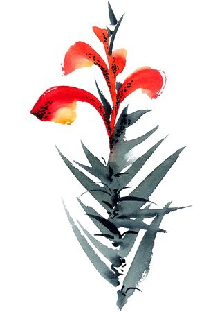 Lily. Watercolor and ink painting in style gohua, sumi-e, u-sin. Oriental traditional painting.