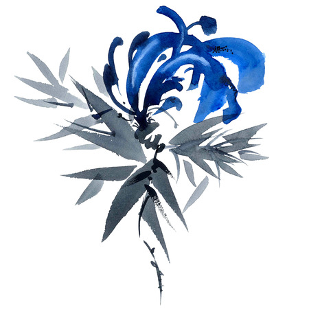 gohua: Blue flower. Watercolor and ink painting in style gohua, sumi-e, u-sin. Oriental traditional painting.