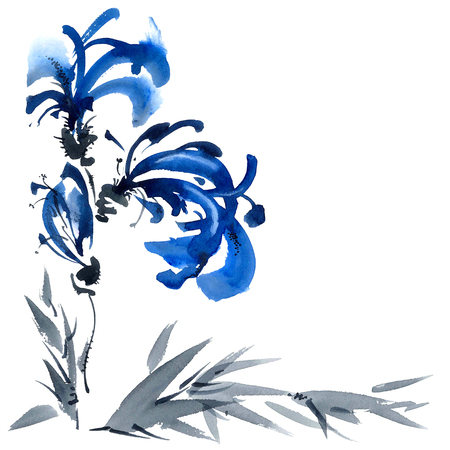 gohua: Blue flowers bouquet. Background with corner composition for cards, invitation. Watercolor and ink painting in style gohua, sumi-e, u-sin. Oriental traditional painting.