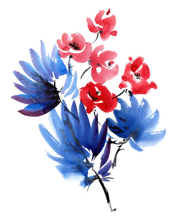 Red flowers and dark blue leaves bouquet. Watercolor and ink painting in style gohua, sumi-e, u-sin. Oriental traditional painting.