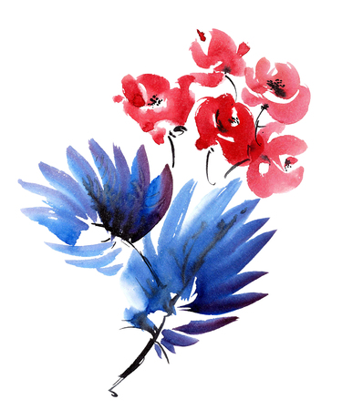 gohua: Red flowers and dark blue leaves bouquet. Watercolor and ink painting in style gohua, sumi-e, u-sin. Oriental traditional painting.