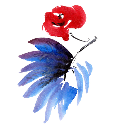 Red flower and dark blue leaf. Watercolor and ink painting in style gohua, sumi-e, u-sin. Oriental traditional painting.