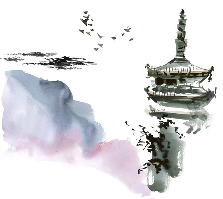gohua: Chinese landscape with pagoda. Sumi-e, u-sin, gohua style. Hand made watercolor and ink painting.