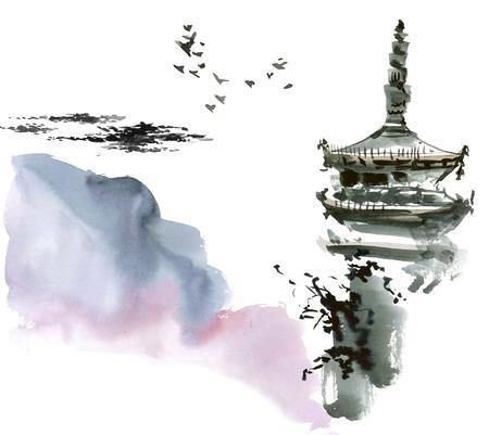 Chinese landschap met pagode. Sumi-e, u-sin, gohua stijl. Met de hand gemaakt waterverf en inkt schilderen. Stockfoto