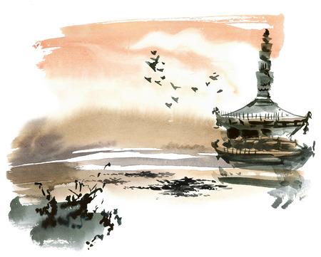 塔と中国の風景。スミ-e、u 罪、gohua スタイル。手作りの水彩画や水墨画。 写真素材