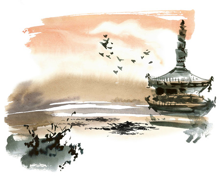 china landscape: Chinese landscape with pagoda. Sumi-e, u-sin, gohua style. Hand made watercolor and ink painting.