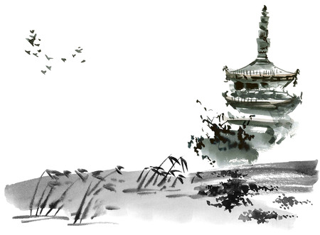 and sumi: Chinese landscape with pagoda. Sumi-e, u-sin, gohua style. Hand made watercolor and ink painting.