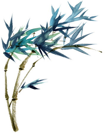 Watercolor and ink illustration of bamboo in style sumi-e, u-sin. Oriental traditional painting. Stock Photo