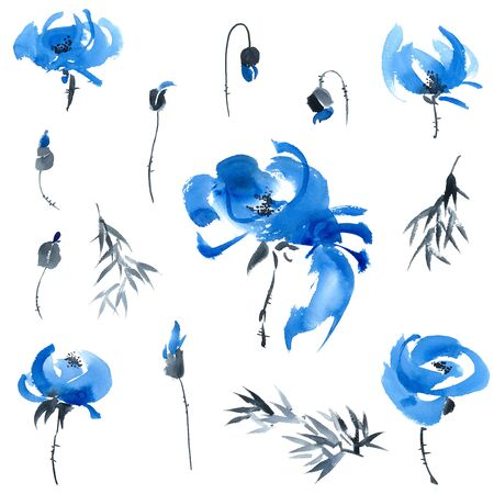 Watercolor and ink illustration of blue flowers, buds and leaves
