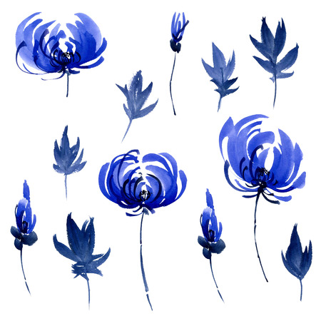 gohua: Watercolor and ink illustration of blue flowers, buds and leaves. Oriental traditional painting in style sumi-e, gohua.