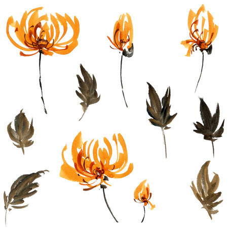 gohua: Watercolor and ink illustration of orange flowers, buds and leaves. Oriental traditional painting in style sumi-e, gohua.