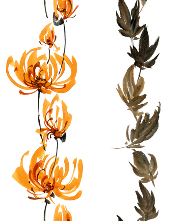 gohua: Watercolor and ink illustration of orange flowers, buds and leaves. Oriental traditional painting in style sumi-e, gohua. Decorative seamless patterns.
