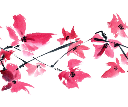 Watercolor and ink illustration of pink flowers on the tree brunch. Oriental traditional painting in style sumi-e, gohua. Seamless pattern.
