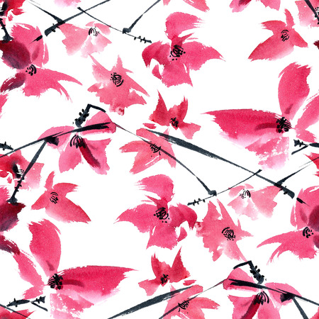 gohua: Watercolor and ink illustration of pink flowers on the tree brunch. Oriental traditional painting in style sumi-e, gohua. Seamless pattern.