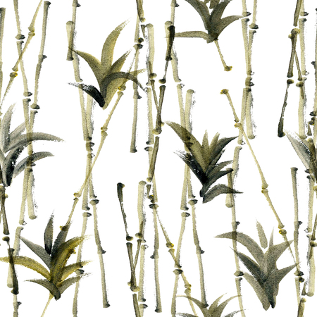 agave: Watercolor and ink abstract illustration of bamboo and agave. Sumi-e painting. Seamless pattern texture.