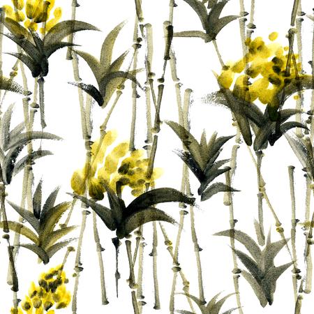 Waterverf en inkt abstracte illustratie van bamboe en bloemen. Sumi-e schilderij. Naadloos patroon textuur.