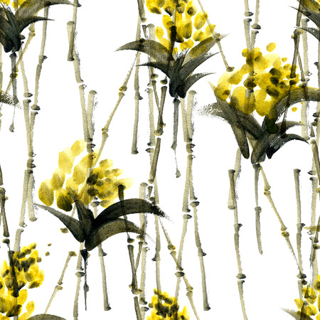 inflorescence: Watercolor and ink abstract illustration of bamboo and flowers. Sumi-e painting. Seamless pattern texture.