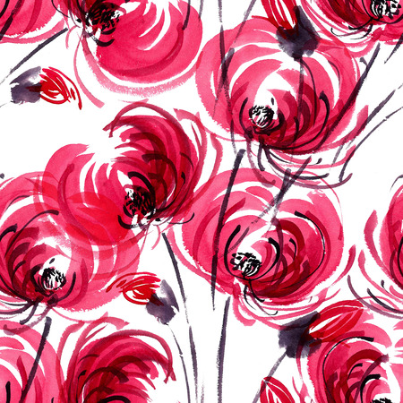 Watercolor and ink illustration of red chrisanthemium fowers and buds. Oriental traditional painting in style sumi-e, gohua. Decorative seamless patterns. Stock Photo