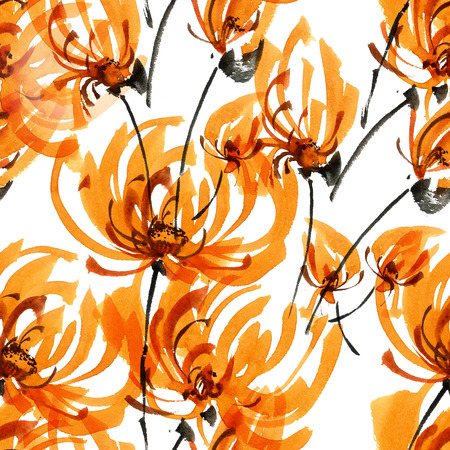 gohua: Watercolor and ink illustration of orange chrisanthemium fowers and buds. Oriental traditional painting in style sumi-e, gohua. Decorative seamless patterns.