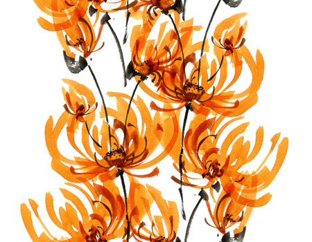Watercolor and ink illustration of orange chrisanthemium fowers and buds. Oriental traditional painting in style sumi-e, gohua. Decorative seamless patterns.
