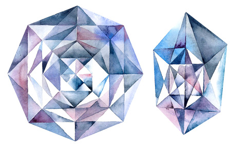 Watercolor illustration of diamond crystals. Blue ametist. Stock Photo