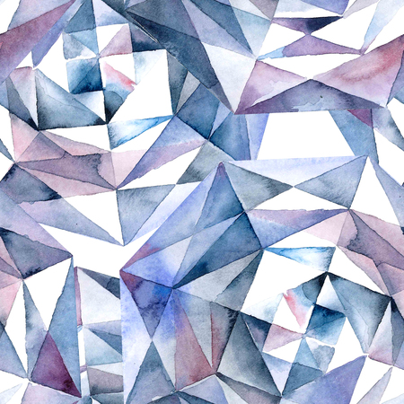 Watercolor illustration of diamond crystals - seamless pattern Stock Photo