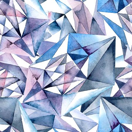 Watercolor illustration of diamond crystals - seamless pattern Reklamní fotografie
