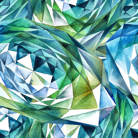 Watercolor illustration of emerald diamond crystals - seamless pattern