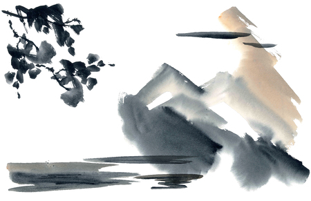 gohua: Watercolor and ink abstract chinese landscape - sky, mountanis, trees. Sumi-e, u-sin, gohua painting.