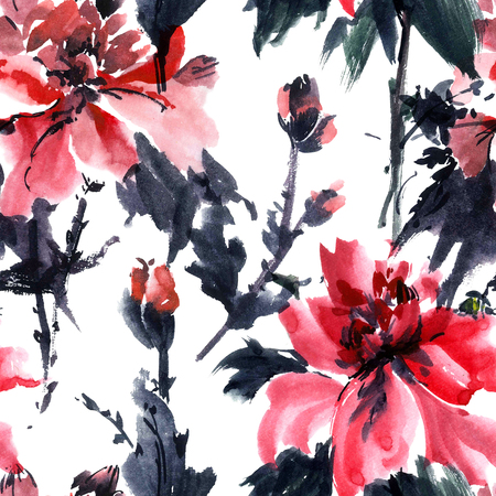 gohua: Watercolor and ink illustration of blossom flower. Gohua, sumi-e, u-sin painting. Seamless pattern.