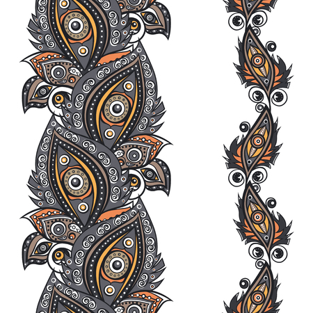 plumes: Plumes with ornament decor. Vector seamless pattern. Illustration