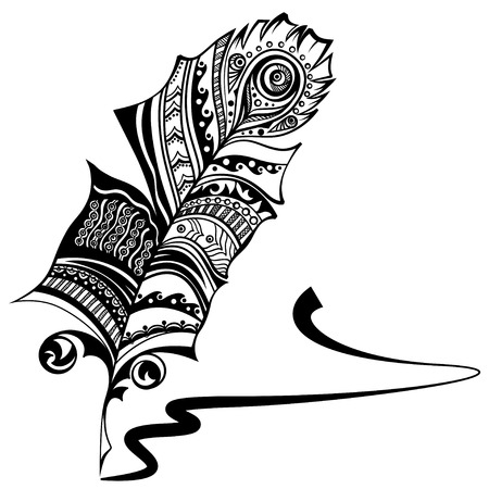signature: Plume with ethnic ornament and ink signature. Vector graphic.
