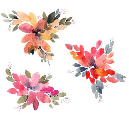 Watercolor painted flowers leaves. Hand drawn flowers.